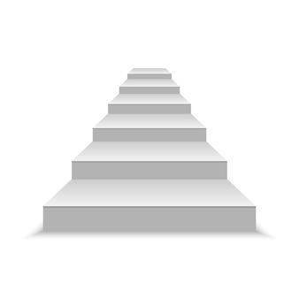 Escaleras blancas en blanco realistas. ilustración vectorial
