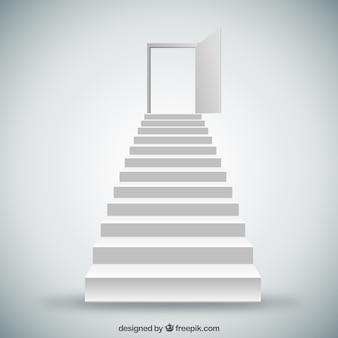 Escaleras blancas y puerta
