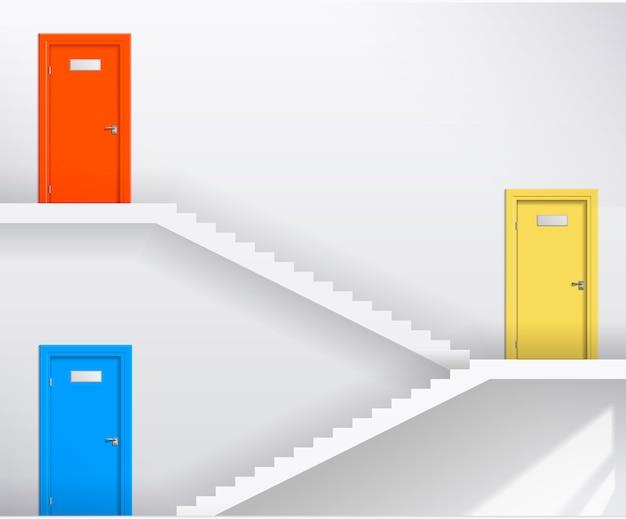 Escaleras y puertas de colores.