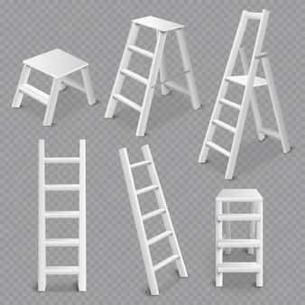 Escaleras realista conjunto transparente