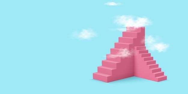 Escaleras rosa con fondo de nubes
