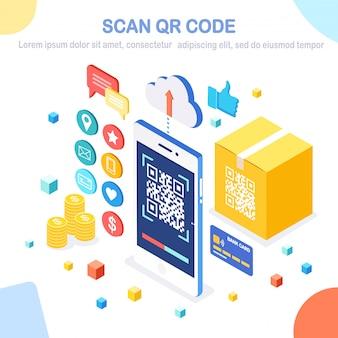 Escanee el código qr al teléfono. lector de código de barras móvil, escáner con caja de cartón, nube, tarjeta bancaria de crédito, dinero. pago electrónico digital con smartphone. dispositivo isométrico.
