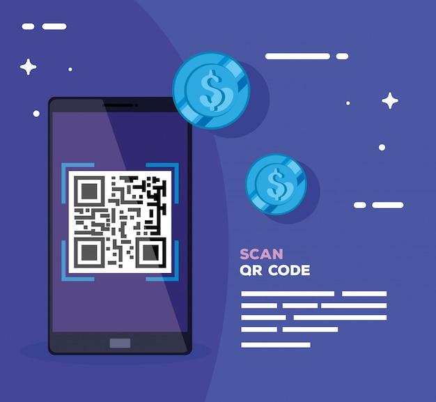 Escanee el código qr con un teléfono inteligente y monedas