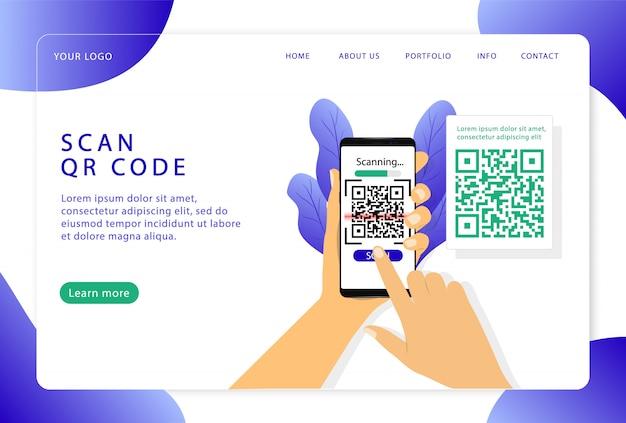 Escanee el código qr. verificación. página de destino. páginas web modernas para sitios web.