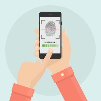 Escanee la huella digital al teléfono móvil. sistema de seguridad de identificación de teléfono inteligente. concepto de firma digital. tecnología de identificación biométrica, acceso personal.