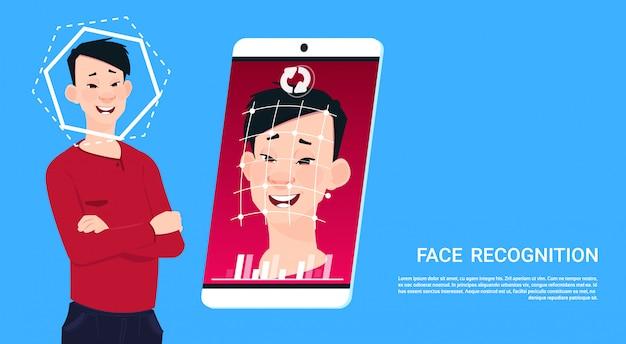Escaneo biométrico tecnología de acceso a teléfonos inteligentes usuario masculino reconocimiento facial concepto sistema de seguridad