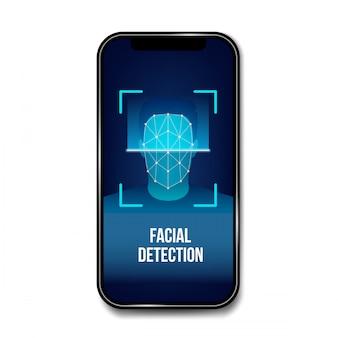 Escaneo biométrico de verificación facial, identificación.