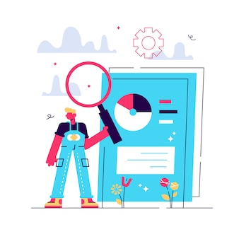 Escaneo de documentos comerciales. documento electrónico en línea con infografías de gráficos circulares. análisis de datos, informe anual, verificación de resultados. hombre con lupa. ilustración de metáfora de concepto aislado