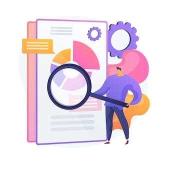 Escaneo de documentos comerciales. documento electrónico en línea con infografías de gráficos circulares. análisis de datos, informe anual, verificación de resultados. hombre con lupa.