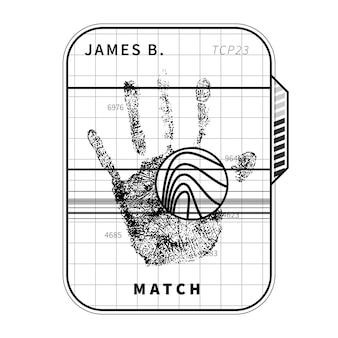 Escaneo de huellas dactilares con palma humana detallada, concepto simple en negro sobre blanco