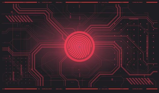 Escaneo del sistema de identificación. ilustración del concepto de tecnología de escaneo de huellas dactilares. identificación biométrica con interfaz futurista hud. escaneo de dedos en estilo futurista.