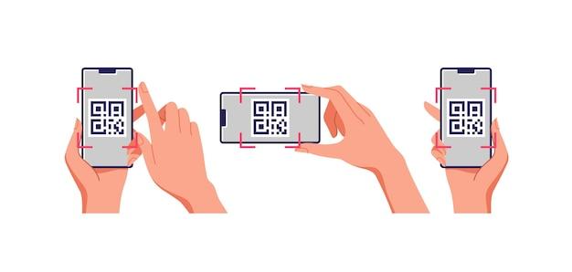 Escaneo de teléfono móvil de código qr en pantalla. concepto de negocio y tecnología.