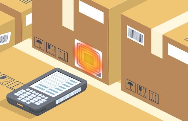 Escáner de código de barras lee la caja, almacenamiento
