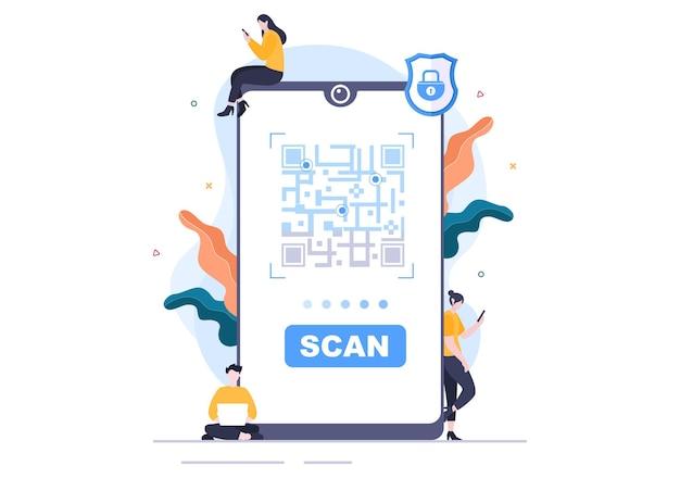 Escáner de código qr para pago en línea, pago electrónico y transferencia de dinero en teléfono inteligente con aplicación en mano. ilustración de vector de fondo