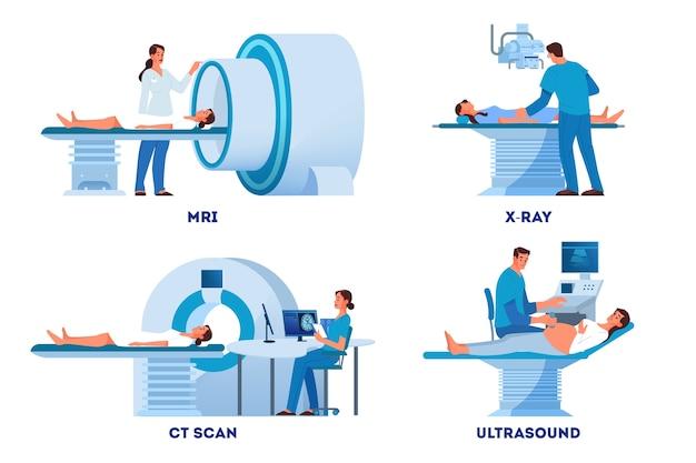 Escáner mri y rayos x, ultrasonido y ct skan. médico y paciente en examen médico. equipo de diagnóstico hospitalario moderno. concepto de salud. ilustración en dibujos animados