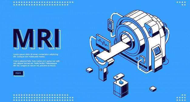 Escáner de resonancia magnética con banner web de paciente y médico