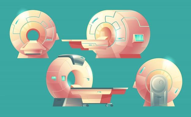 Escáner de resonancia magnética de dibujos animados para tomografía, examen médico