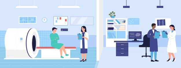 Escáner de resonancia magnética, sala de laboratorio del hospital de escaneo médico con paciente de examen de personajes médicos