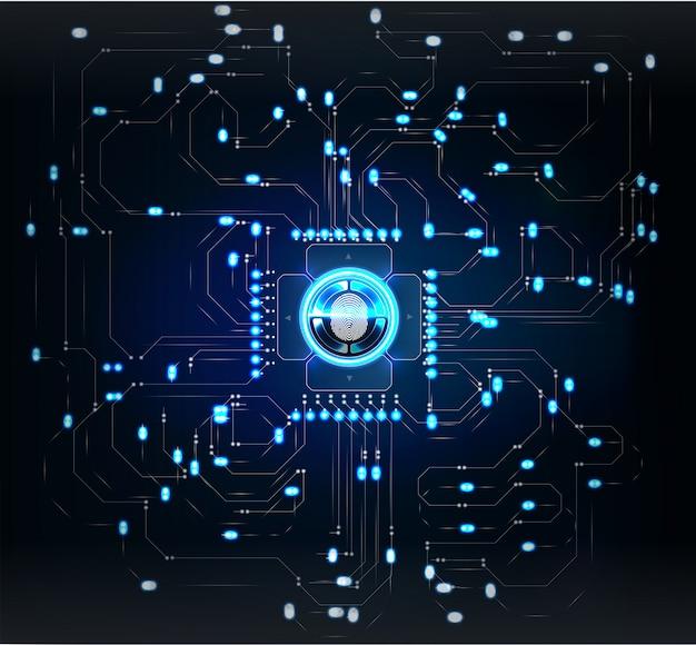 Escáneres de verificación. escaneo de dedos en estilo futurista. identificación biométrica con futurista