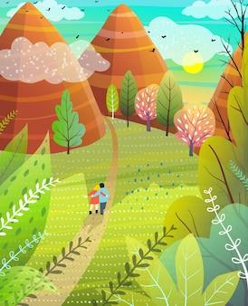 Escapada de verano ilustrada a la naturaleza con pareja de colinas y montañas caminando por la carretera.