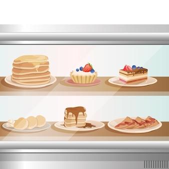 Escaparate de cristal de cafetería o panadería con varios postres dulces