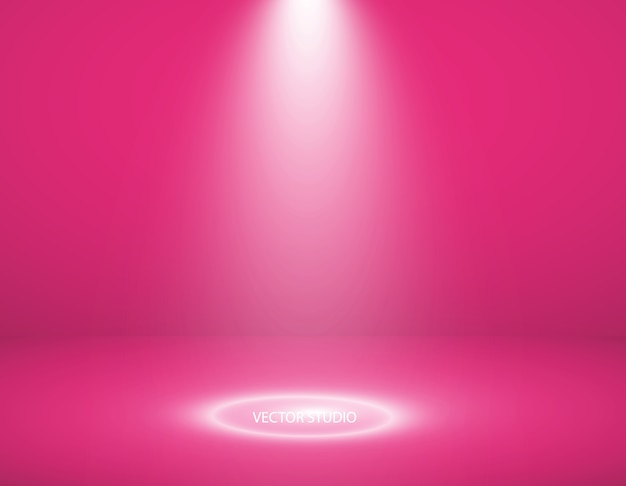 Escaparate de productos de color rosa vacío.