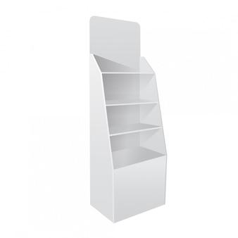 Escaparate vacío en blanco con estantes minoristas. publicidad de productos. vista lateral. plantilla lista para su