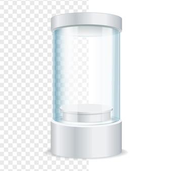 Escaparate de vidrio vacío redondo para exhibición sobre un fondo transparente. ilustración vectorial