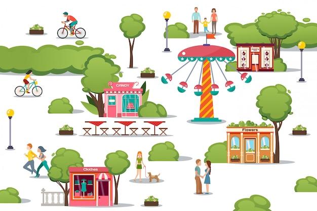 Escaparates, diferentes tiendas en la calle de la ciudad, ilustración. joyería exterior, tienda de dulces, flores y ropa cerca de la planta