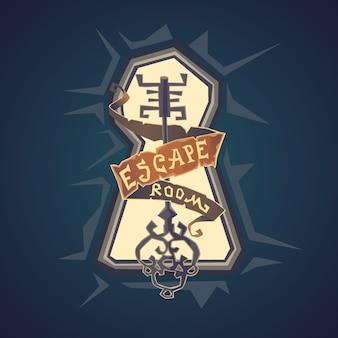 Escape de la habitación de la vida real. el logotipo de la sala de misiones en estilo de dibujos animados.