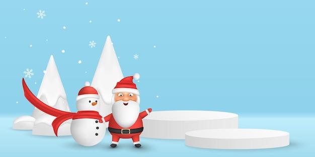 Escena 3d mínima de vector de navidad para mostrar su producto. dibujos animados emocionales santa y muñeco de nieve en el fondo de abetos decorativos con copos de nieve. plataforma de podio. eps 10