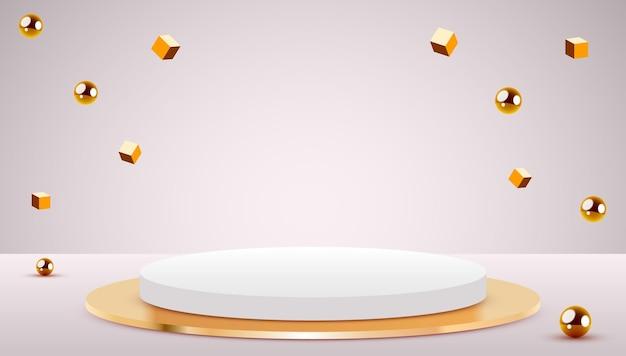 Escena abstracta podio de cilindro de fondo y cubos y esferas de oro