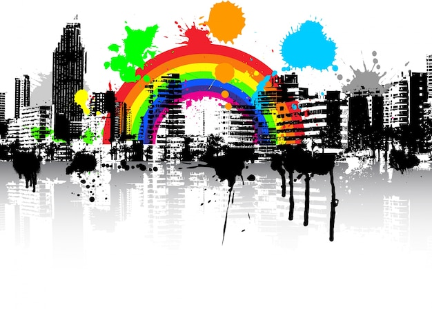 Escena abstracta urbana grunge de fondo con arco iris