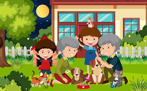 Escena con abuelos y niños en casa.