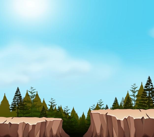 Una escena del acantilado de la naturaleza.