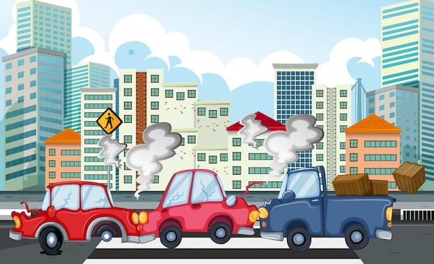 Escena del accidente con accidente automovilístico en la ciudad