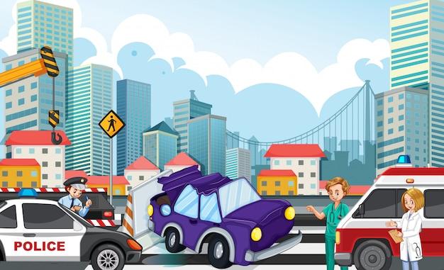 Escena del accidente con accidente automovilístico en la ilustración de la carretera