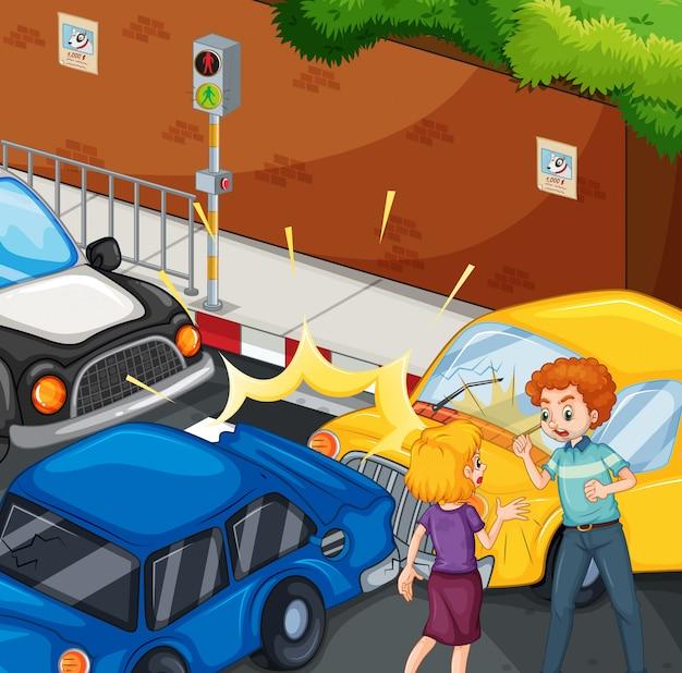 Escena del accidente con personas y accidente automovilístico
