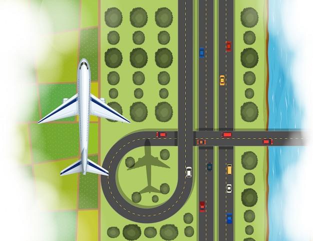 Escena aérea de un avión volando sobre la tierra.