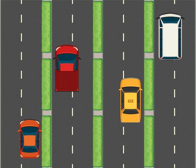 Escena aérea con coches en las carreteras.