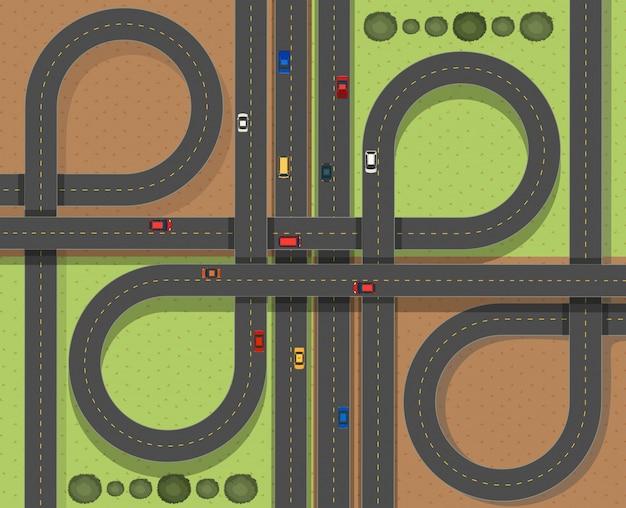 Escena aérea con coches en las carreteras