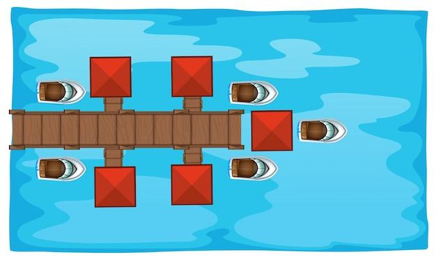 Escena aérea con puente y barcos