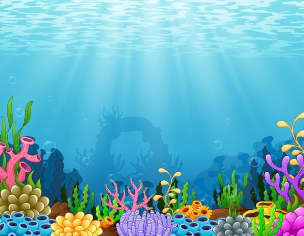 Escena bajo el agua con arrecife de coral tropical