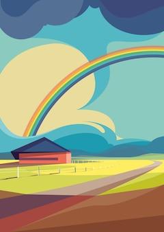 Escena al aire libre con arco iris. paisaje natural en orientación vertical.