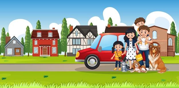 Escena al aire libre en la calle con familia feliz.