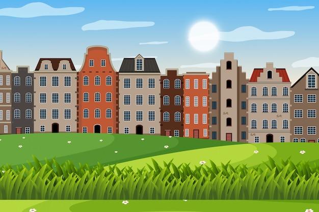 Una escena al aire libre con la casa de amsterdam