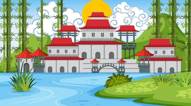 Una escena al aire libre con un castillo asiático