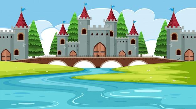 Una escena al aire libre con castillo