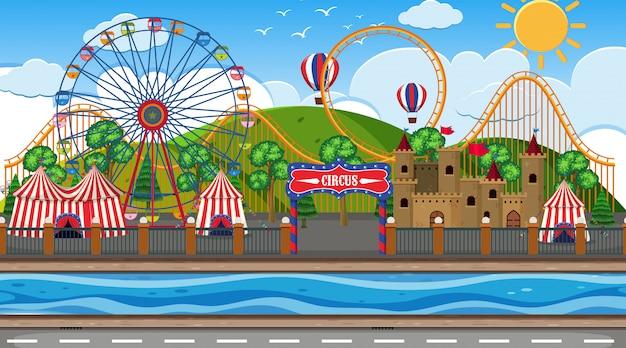 Una escena al aire libre con circo