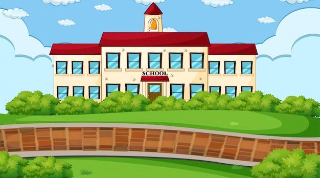 Escena al aire libre de la escuela